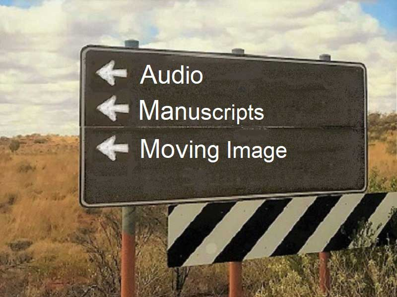 Road sign pointing to Audio, Manuscripts, Moving image